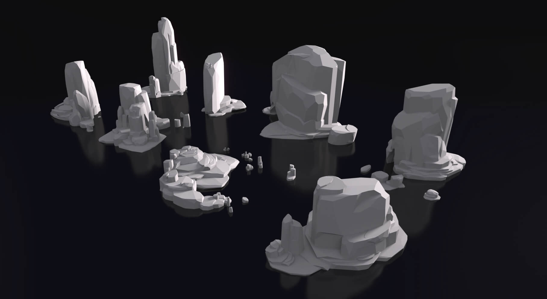 """Dhyana"" low-poly modular rock models"